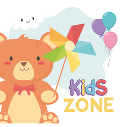 Kids zone teddy bear and pinwheel with stick toys vector