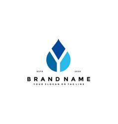 Letter y water drop logo design vector