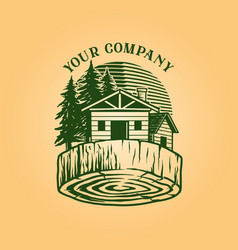 lumber log house logo vintage wood vector image