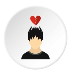 Male avatar and broken heart icon flat style vector
