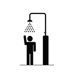 Man in the shower icon vector