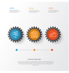 Management icons set collection growth board vector