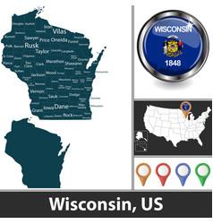 Map wisconsin us vector