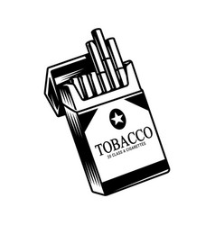 Monochrome opened pack of cigarettes vector