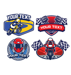 Motorcycle racing badge design set vector