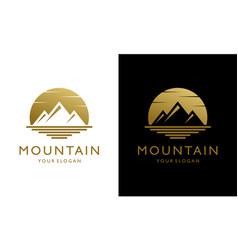 Mountain sea silhouette at sunset moon logo vector
