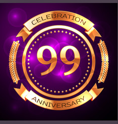 ninety nine years anniversary celebration with vector image