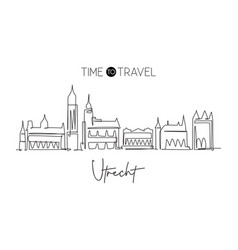 one continuous line drawing utrecht city vector image