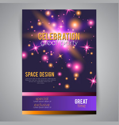 Party celebration poster with space design vector