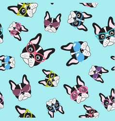 pattern with french bulldogs with glasses vector image
