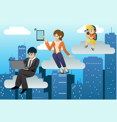 people using different mobile device in clouds vector image