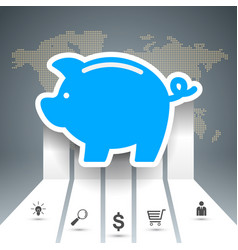Pig coin bussines infographic vector