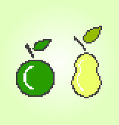 pixel apple and pear on a yellow vector image