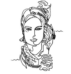 Portrait of a woman in headscarf vector