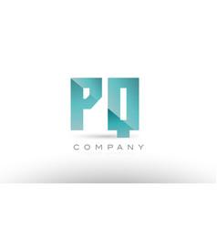 pq p q alphabet letter green logo icon design vector image