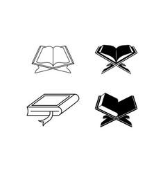 Quran holy book icon set design template vector