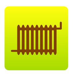 radiator sign brown icon at green-yellow vector image