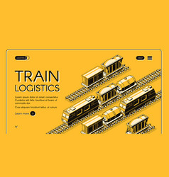 Railway freight transport company website vector