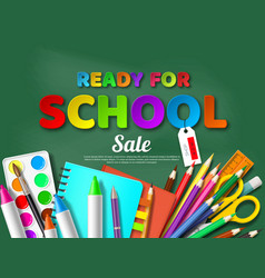 ready for school sale poster with realistic school vector image