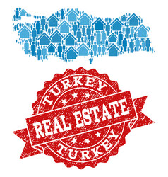Real estate composition of mosaic map of turkey vector