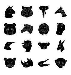realistic animals set icons in black style big vector image