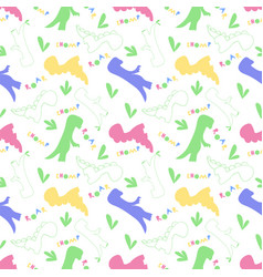 Roar chomp dino pattern creative seamless tile vector
