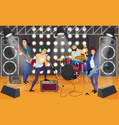 Rock band on the stage musical group cartoon vector