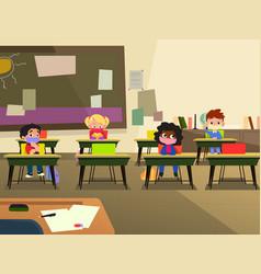school children in classroom wearing mask vector image