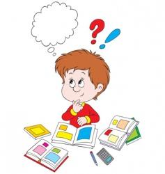 Schoolboy at homework vector