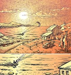 Seacsape with the kitesurfer vector