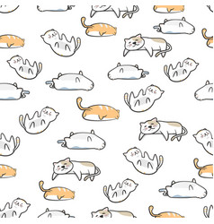 seamless pattern cute cat cartoon with hand drawn vector image