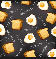 Seamless pattern fried eggs bread and fork spoon vector