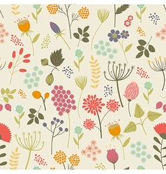 Seamless pattern with flowers and berries in vector