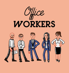 set of office worker vector image