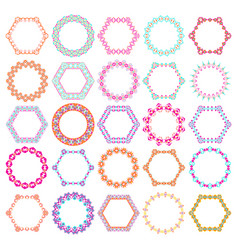 Set of round and hexagon decorative frames vector