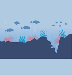 Silhouette of element on underwater landscape vector