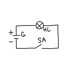 Sketch drawing of an electrical circuit pencil vector