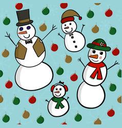 snowman family seamless vector image