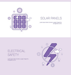 solar panels and electricial safety concept vector image