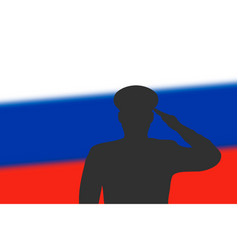 solder silhouette on blur background with russia vector image