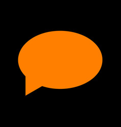 speech bubble icon orange icon on black vector image