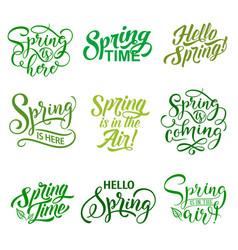 Springtime season quotes icons set vector