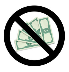 stop cash and currency no money label vector image