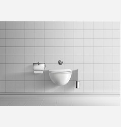 Toilet room with wall-hanging toilet bowl vector