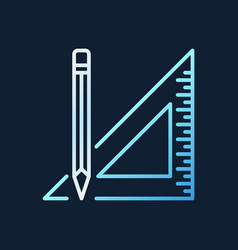triangle ruler with pencil outline colorful vector image