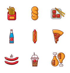 Unhealthy food icons set flat style vector