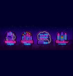 Vape shop neon sign collection vaping vector