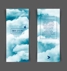 Watercolor blue and white sky vector