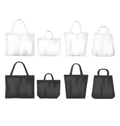 White and black tote shopping eco friendly bags vector