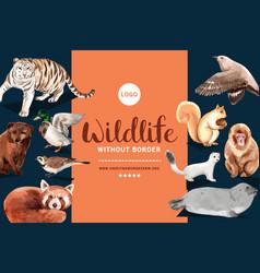 Winter animal frame design with tiger bird vector